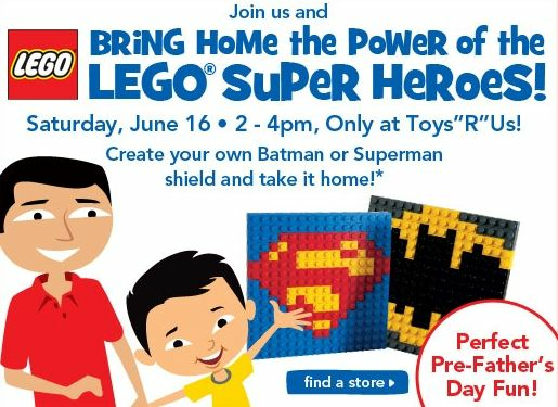 Toys R Us Build a SuperMan or Batman shield Event